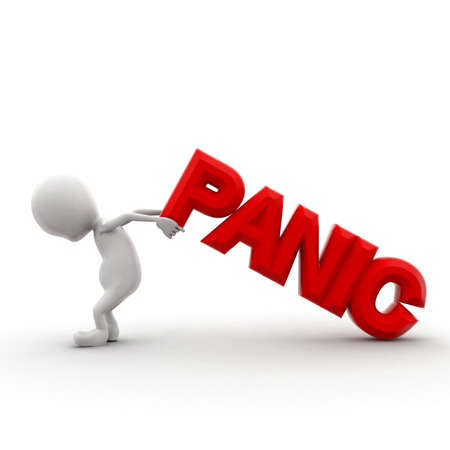 struggling: 3d man struggling to carry panic text concept in white isolated background - 3d rendering ,  front angle view