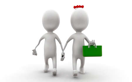 togheter: 3d girl and boy holding hands togheter with a bag concept in white isolated background , front angle view