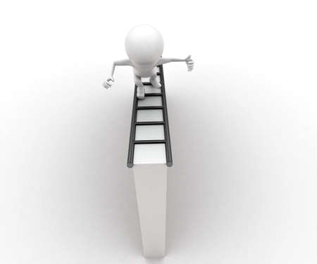 walk through: 3d man walking through ladder concept in white isolated background , top angle view
