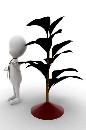 plant stand: 3d man standing near plant  concept in white isolated background , side angle view
