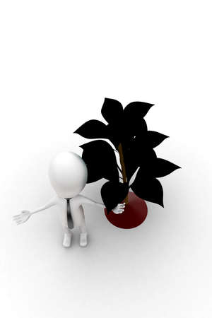plant stand: 3d man standing near plant  concept in white isolated background , top angle view