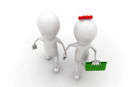 togheter: 3d girl and boy holding hands togheter with a bag concept in white isolated background , top angle view