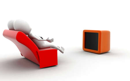 watching 3d: 3d man watching television concept in white isolated background , side angle view