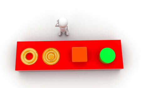 solving: 3d man solving puzzle concept in white isolated background , top angle view