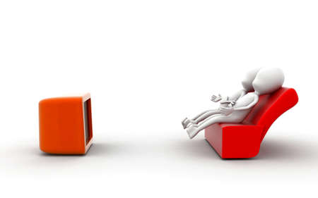 watching 3d: 3d man watching television concept in white isolated background , sideangle view