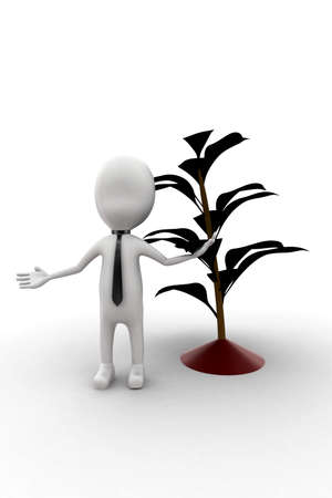 plant stand: 3d man standing near plant  concept in white isolated background , front angle view Stock Photo