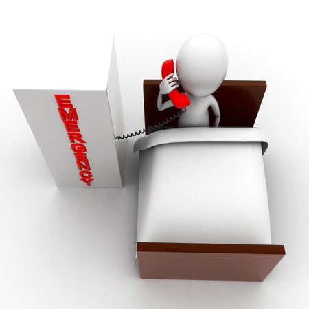 lying in: 3d man lying in bed and making  a emergency call concept in white isolated background ,top angle view Stock Photo