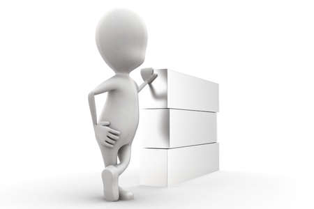 plain: 3d man presenting a plain box concept in white isolated background , side angle view