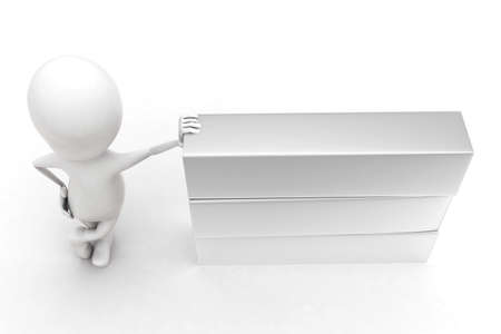 plain: 3d man presenting a plain box concept in white isolated background , top angle view