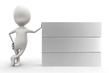 plain: 3d man presenting a plain box concept in white isolated background , front angle view