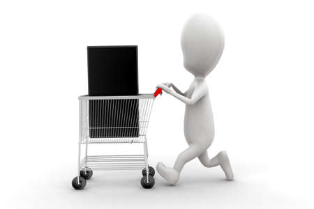 moving in: 3d man moving trolley with mobile phone in it concept in white isolated background , front angle view Stock Photo