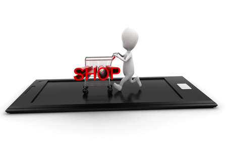 projecting: 3d man moving trolley with shop text projecting on it  on mobile screen concept in white isolated background ,  front angle view Stock Photo