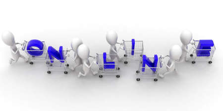 trolly: 3d group of men holding trolly and online text presentation concept  in white isolated background ,  top angle view
