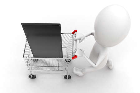 moving in: 3d man moving trolley with mobile phone in it concept in white isolated background , top angle view