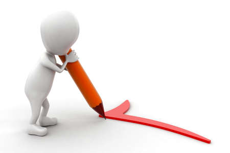 putting: 3d man putting a tick mark using pencil concept in white isolated backgtound , side angle view