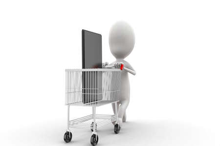 moving in: 3d man moving trolley with mobile phone in it concept in white isolated background , side angle view Stock Photo
