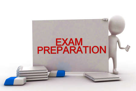 exam preparation: 3d man presenting a white board with exam preparation  text displayed- pen pencil eraser and note files on the floor concept in white isolated background , front angle view
