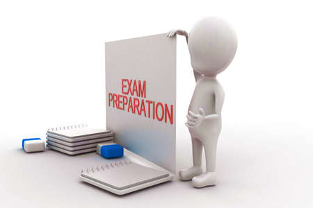 exam preparation: 3d man presenting a white board with exam preparation  text displayed- pen pencil eraser and note files on the floor concept in white isolated background , side angle view