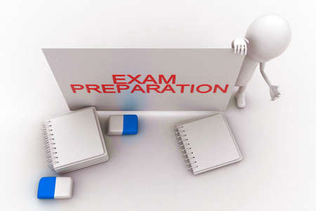 exam preparation: 3d man presenting a white board with exam preparation  text displayed- pen pencil eraser and note files on the floor concept in white isolated background , top angle view