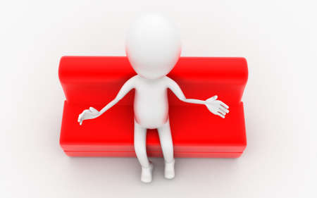 sitting sofa: 3d man sitting on red sofa concept in white isolated background , top angle view