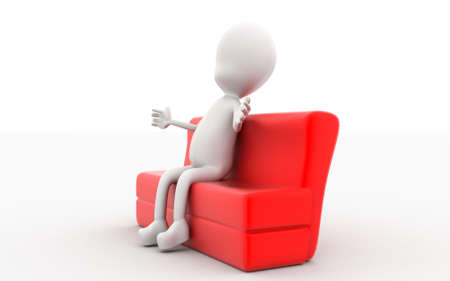 red couch: 3d man sitting on red sofa concept in white isolated background , side angle view Stock Photo