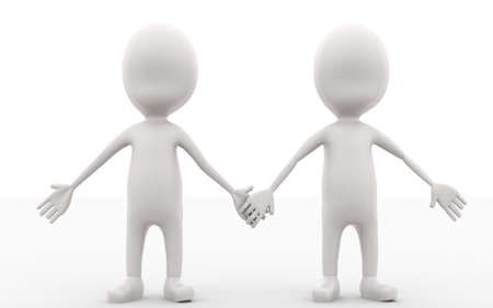 togheter: 3d men holding hands togheter concept in white isolated background ,front angle view Stock Photo