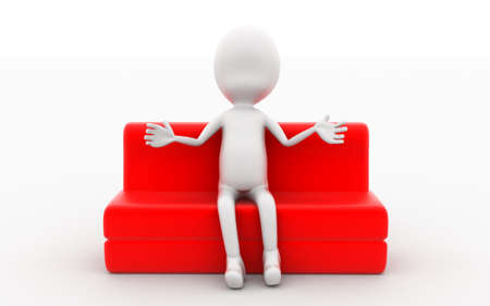 red couch: 3d man sitting on red sofa concept in white isolated background , front angle view