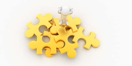 guy standing: 3d man confused and standing on puzzle concept in white isolated background , top angle view