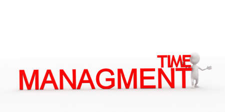 managment: 3d man presenting time managment text concept in white isolated background , front angle view Stock Photo