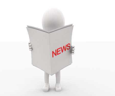 projected: 3d man reading paper with news text projected concept in white isolated background , front angle view