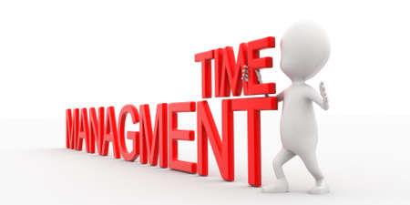 managment: 3d man presenting time managment text concept in white isolated background , side angle view