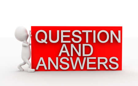 man pushing: 3d man pushing question and answers box concept in white isolated background , front angle view