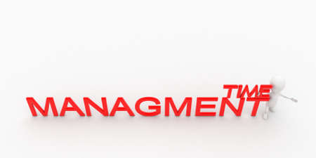 managment: 3d man presenting time managment text concept in white isolated background , top angle view