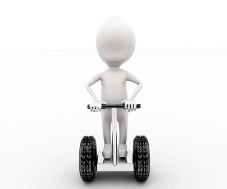 motor cycle: 3d man on bi motor cycle concept in white isolated background ,front angle view Stock Photo