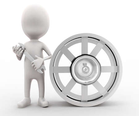 rim: 3d man holding a spanner - a wheel rim near by concept in white isolated background , front angle view Stock Photo