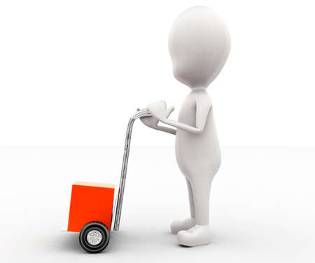 moving in: 3d man moving a trolley with cargo concept in white isolated background , side angle view Stock Photo