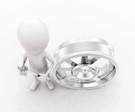 wheel rim: 3d man holding a spanner - a wheel rim near by concept in white isolated background , top angle view