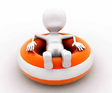 flotation: 3d man sitting on throwable flotation concept in white isolated background , front angle view Stock Photo