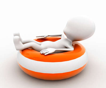 flotation: 3d man sitting on throwable flotation concept in white isolated background , side angle view Stock Photo