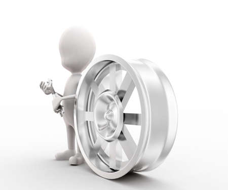 wheel rim: 3d man holding a spanner - a wheel rim near by concept in white isolated background , side angle view