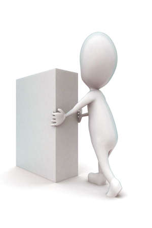 moving in: 3d man moving a white box concept in white isolated background - 3d rendering ,  side angle view