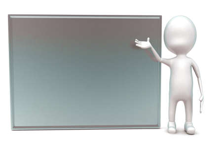front angle: 3d man presenting silver board concept in white isolated background - 3d rendering ,  front angle view