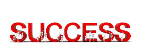 climbing up: 3d group of people climbing up success text using ladder concept in white isolated background , front angle view