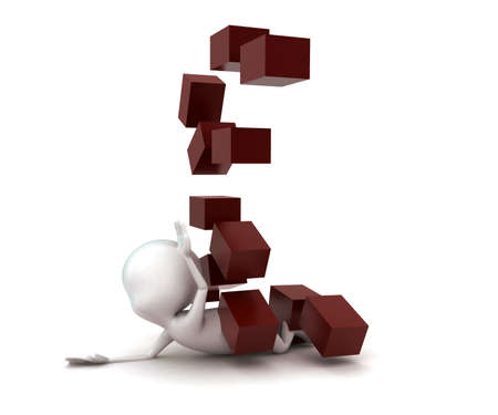 escaping: 3d man escaping from bricks which are falling down concept in white isolated background , side angle view