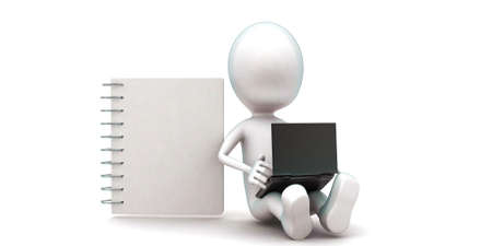 notepads: 3d man using laptop and sitting near by a notepad concept in white isolated background , front angle view