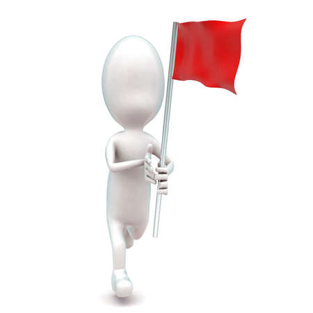 while: 3d man running while holding a red flag in hands concept in white isolated background - 3d rendering ,  front angle view Stock Photo