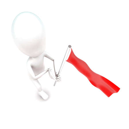 while: 3d man running while holding a red flag in hands concept in white isolated background - 3d rendering ,  top angle view