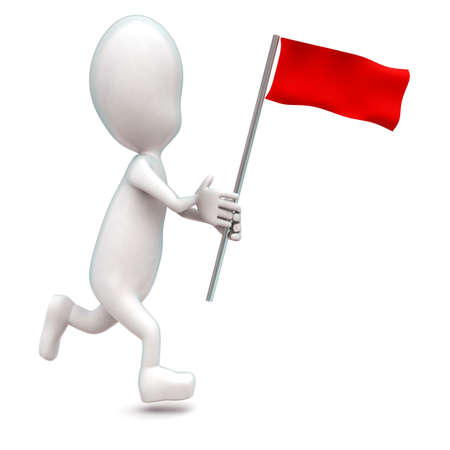 while: 3d man running while holding a red flag in hands concept in white isolated background - 3d rendering ,  side angle view Stock Photo