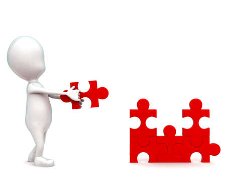 solve: 3d man holding puzzle in hands to solve a puzzle concept in white isolated background - 3d rendering , front angle view Stock Photo