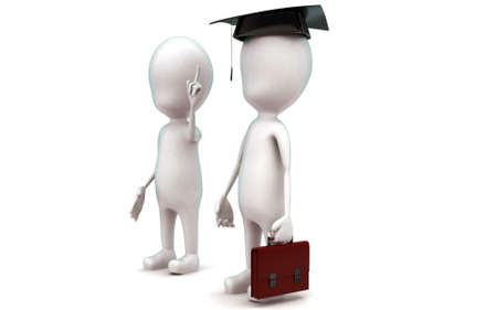 graduated: 3d man and a graduated man concept in white isolated background - 3d rendering ,  side angle view